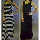 Fever Women's Long Sleeveless Maxi Dress Solid Black or Black w/Gray S-2XL