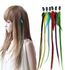 Fashion Women's Rainbow Hairpiece Stripe Synthetic Feather Hair Extensions LA