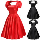 40's 50's Retro Style Sexy Women Hollowed Puff Sleeve Vintage Party Picnic Dress
