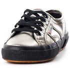 Superga 2750 Metallic Womens Fabric Grey Black Trainers New Shoes