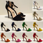 Womens Ladies High Stiletto Heel Peep Toe Ankle Strap Party Sandals Shoes Size