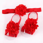 Baby Chiffon Barefoot Rose Flower Sock Sandals Shoes Toe Blooms+headband As