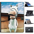 Superb Stunning Stallion White Horses Folio Cover Leather Case For Apple iPad