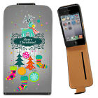 Reindeer Tree Xmas Decorations Leather Flip Case For Apple iPhone 4 / 4S