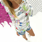 Women's Casual Floral Print Sweater Coat Hoodie Pullover Jumper Knitwear Tops