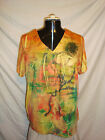 Women's Avenue Art Splashed Banded Yellow Tee NWT!!!!