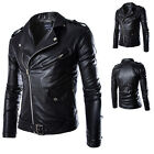 Men's PU Leather Jacke Turn-Down Colllar Biker Fit Motorcycle Jacket Blazer USHF
