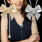 Elegant Sweet Crystal Rhinestone Bow Bowtie Sweater Chain Pendant Necklace