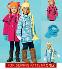 SEWING PATTERN! MAKE GIRLS LINED FLEECE COAT~HAT~SCARF~MITTENS! WINTER CLOTHES!