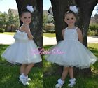 Diamante Tulle Pageant Dresses Wedding Flower Girl Birthday Ivory Size 2T-8 #285