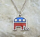 Enameled Pewter Republican Elephant Charm on a Link Chain Necklace - 1418