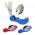 3 In 1 Camping Survival Stainless Steel Pocket Folding Spoon Fork Knife Tool NEW