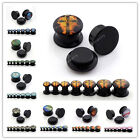 4-14mm Black Cool Acrylic Screw Ear Flesh Tunnel Plugs Expander Stretcher Gift