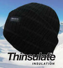 Boys Black Thermal Thinsulate Hat Childrens Winter Insulated Lined Chunky Knit