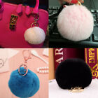 Genuine Rabbit Fur Ball Lovely PomPom Phone Car Keychain Handbag Charm Key Ring