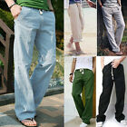 Men's Comfortable Linen Pants Yoga Trousers Loose Summer Beach Drawstring Slacks