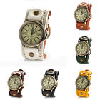 Vintage Charm Men's Wide PU Leather Band Wristwatch Bracelet Quartz Watches