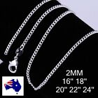 """925 Sterling Silver Filled 2mm Curb Chain Necklace 18"""" 20"""" 22"""" 24"""" 28' 30"""""""