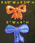 Vintage Large Sequin Bowtie Outline Seed Beads Bow Tie Applique Sew On Glue On