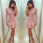 Womens Long Sleeve Sexy Lace Slim Evening Party Bodycon Formal Short Mini Dress