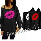 New Women Lady Casual Pullover Lips Print One Shoulder Jumper Hoodie Sweatshirt