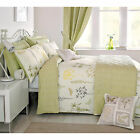 Botanical Floral Duvet Cover With Vintage Butterfly In Olive Green & Cream