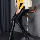 Sexy Women Winter PU Leather Silm Fit Legging Skinny Lace Flower Decor Pants