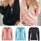 New Ladies V-Neck Long Sleeve Hoodie Sweater Womens Jumper Pullover Blouse Tops