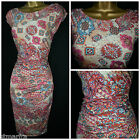 NEW WALLIS DRESS BODYCON FLORAL ABSTRACT BEIGE TAN RUCHED RETRO PARTY 8 - 18