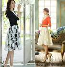 Women's Floral High Waist Pleated Stretch Plain Flared Skater A Line Midi Skirt