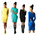 New Women Pockets Long Sleeve Jumper Top Ladies Bodycon Sweater Tunic Mini Dress
