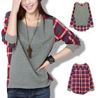Women Plaid Checked Splicing Long Sleeve Round Neck Casual shirt Bottoming Shirt