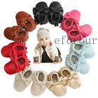 Infant Toddler Baby Soft Bowknot Tassel Sole Leather Shoes Moccasins 0-24Months