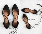 BLACK LACE UP Flats Shoes Suede Pointy Toe Women's Ballet Casual Strappy 5.5-10