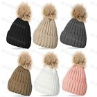 Ladies Knitted Ribbed Beanie Bobble Hat Raccoon Fur Removable XL Pom Pom