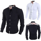 Stylish Men's Long Sleeve Button-Front  Slim Fit  Casual Dress Shirts TEE Tops