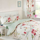 Birds Flower & Polka Dot 5pc Bed in Bag Bedding Set with Curtains & Fitted Sheet