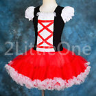 Girl Red Black Pettiskirt Petti Dress Pettidress Tutu Dance Pageant 2T-10 104