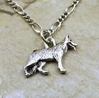 Pewter German Shepherd  Charm on a  Silver Tone Figaro Chain Necklace - 5483