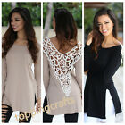 Fashion Sexy Women's Long Sleeve T Shirt Loose Lace Hollowed Halter Tops Blouse