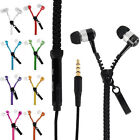 3.5mm In-Ear Zip Zipper Stereo Hands Free Headphones Headset + Mic Earphones Hot
