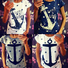 New Women Crew Anchor Print Short Sleeve Crew Top Blouse Loose T-shirt Plus Size