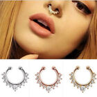 Sexy 316L Surgical Steel Septum Clicker Non-Piercing Nose Ring Ear CZ Jewelry