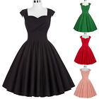 Women's Vintage 1950s Retro Capshoulder Pin up Swing Party TEA Dress