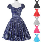 Womens 50s 60s Tea Dress Housewife Cap Sleeve Prom Pinup Swing Dress