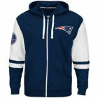 NEW Mens MAJESTIC New England Patriots Football NFL 1960 Navy Full Zip Up Hoodie