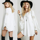 New Womens Bohemian Beach Long Sleeve Lace Party Evening Cocktail Casual Dress