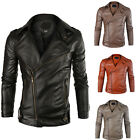 New Men's Fashion Jacket  PU Leather Punk Motorcycle Biker Coat Outerwear Tops