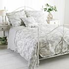 Toile De Jouy Bedspread Throw 100% Cotton Quilt Blanket French Country Paoletti