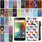 For OnePlus 2 Two PATTERN HARD Protector Back Case Phone Cover + Pen